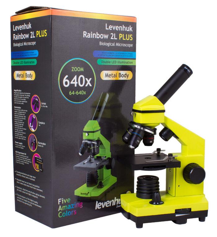 Зеленый Микроскоп Levenhuk 2l в коробке
