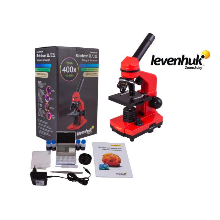 Комплект красного Микроскоп Levenhuk 2l